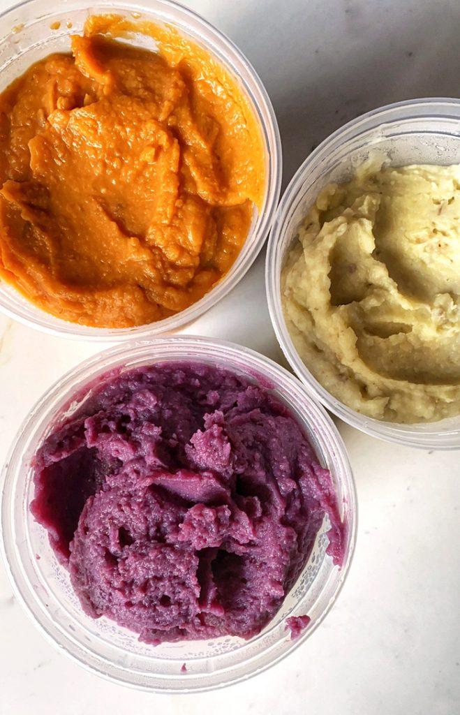 trio of orange, white, and purple sweet potato purees