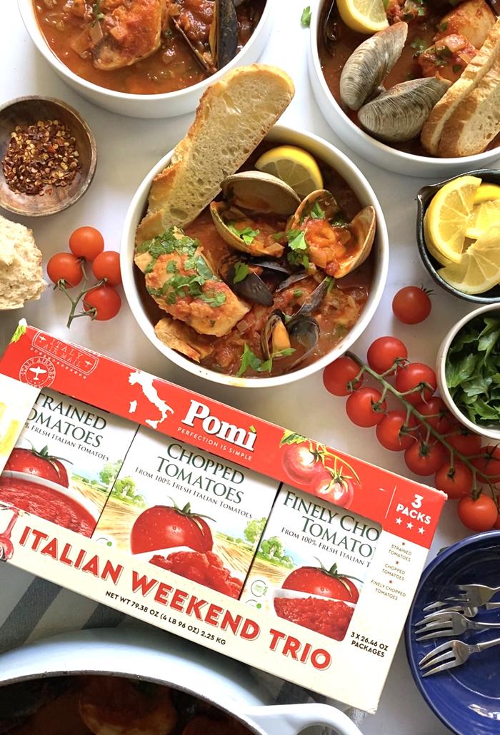 cioppino seafood stew in bowl Pomi Italian Weekend Trio