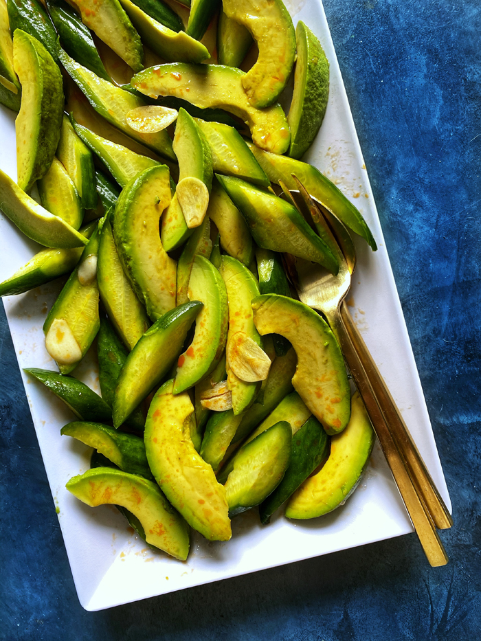 spicy cucumber salad with avocado din tai fung copycat closeup