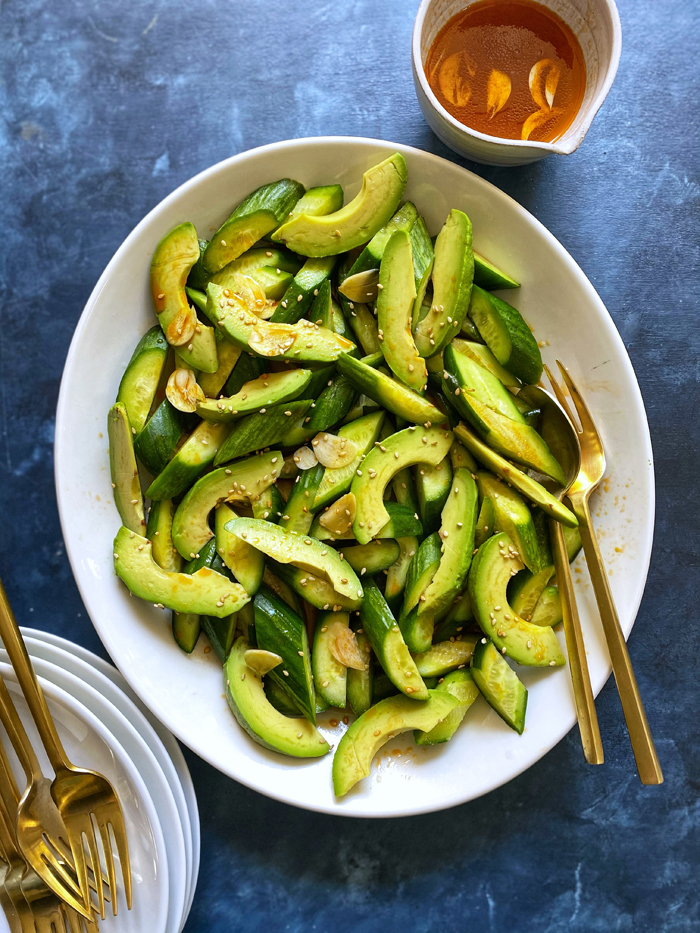 spicy cucumber salad with avocado din tai fung copycat