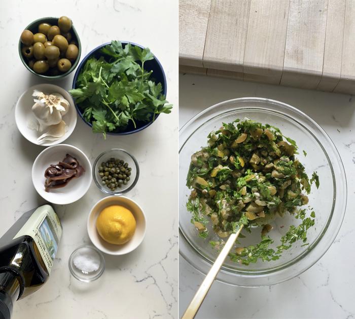 green olive salsa verde ingredients in mixing bowl