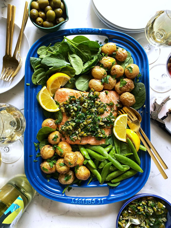 green olive salsa verde on whole roasted salmon
