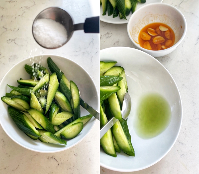 salting cucumbers for salad