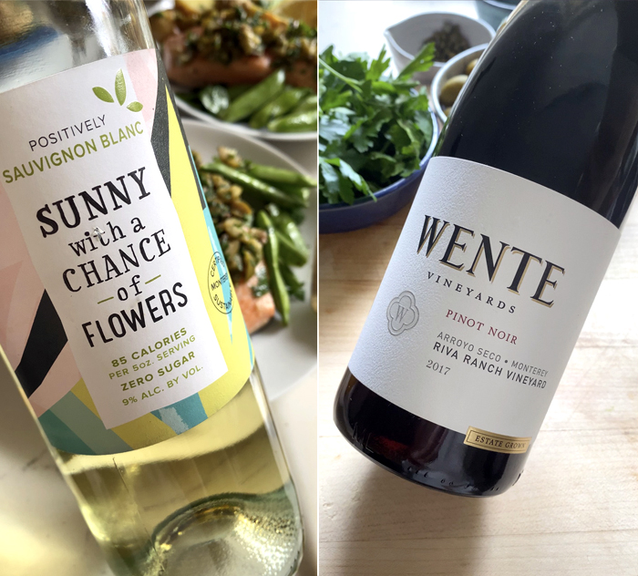 sunny with chance of flowers california sauvignon blanc and wente vineyards pinot noir