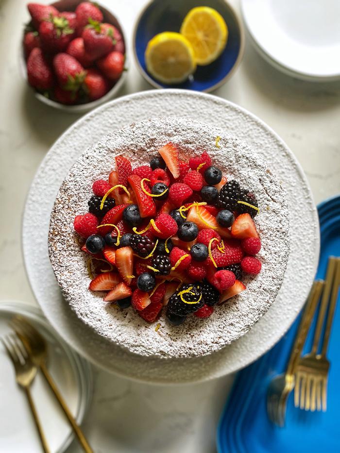 lemon olive oil cake with fresh berries
