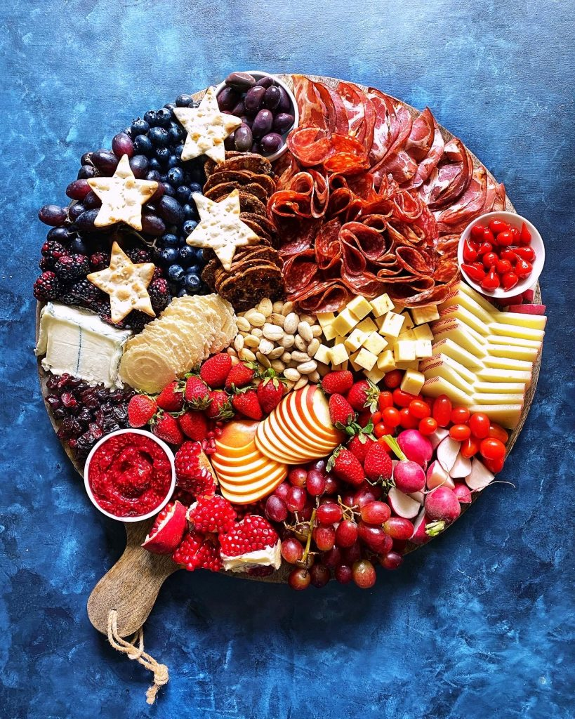 red white blue cheese round board for 4th of july