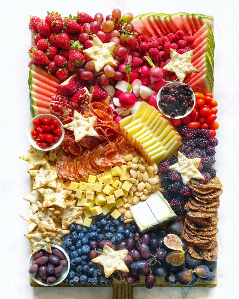 red white blue cheese board for 4th of july