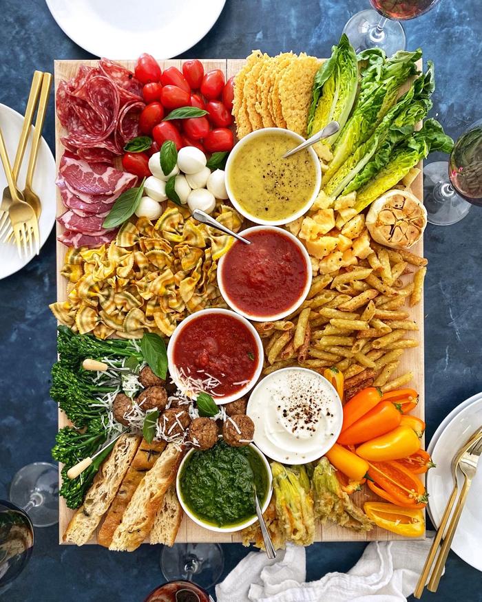 Italian Date Night In Antipasto Board on Blue background